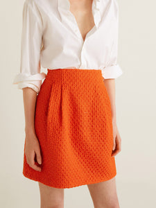 Orange Patterned Mini A-Line Skirt