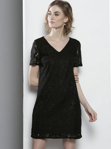 Women Black Lace A-Line Dress