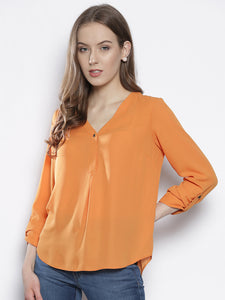 Women Orange Solid Top