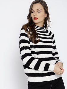 Women Black & White Striped Pullover