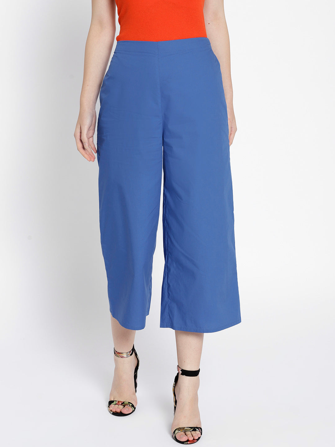 Blue Regular Fit Solid Culottes