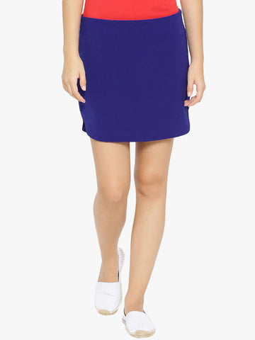 Blue Solid Pencil Skirt