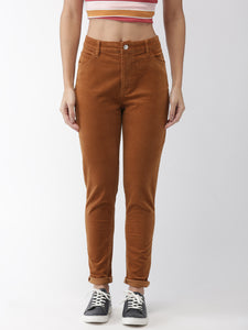 Brown Regular Fit Solid Regular Trousers