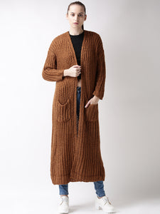 Brown Longline Open-Front Sweater