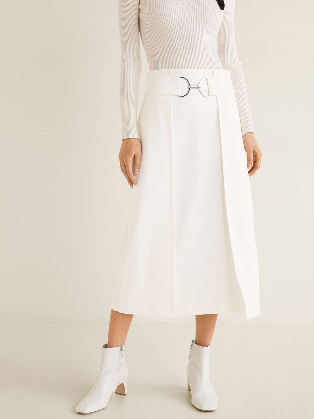 Women White Solid Layered Midi A-line Skirt