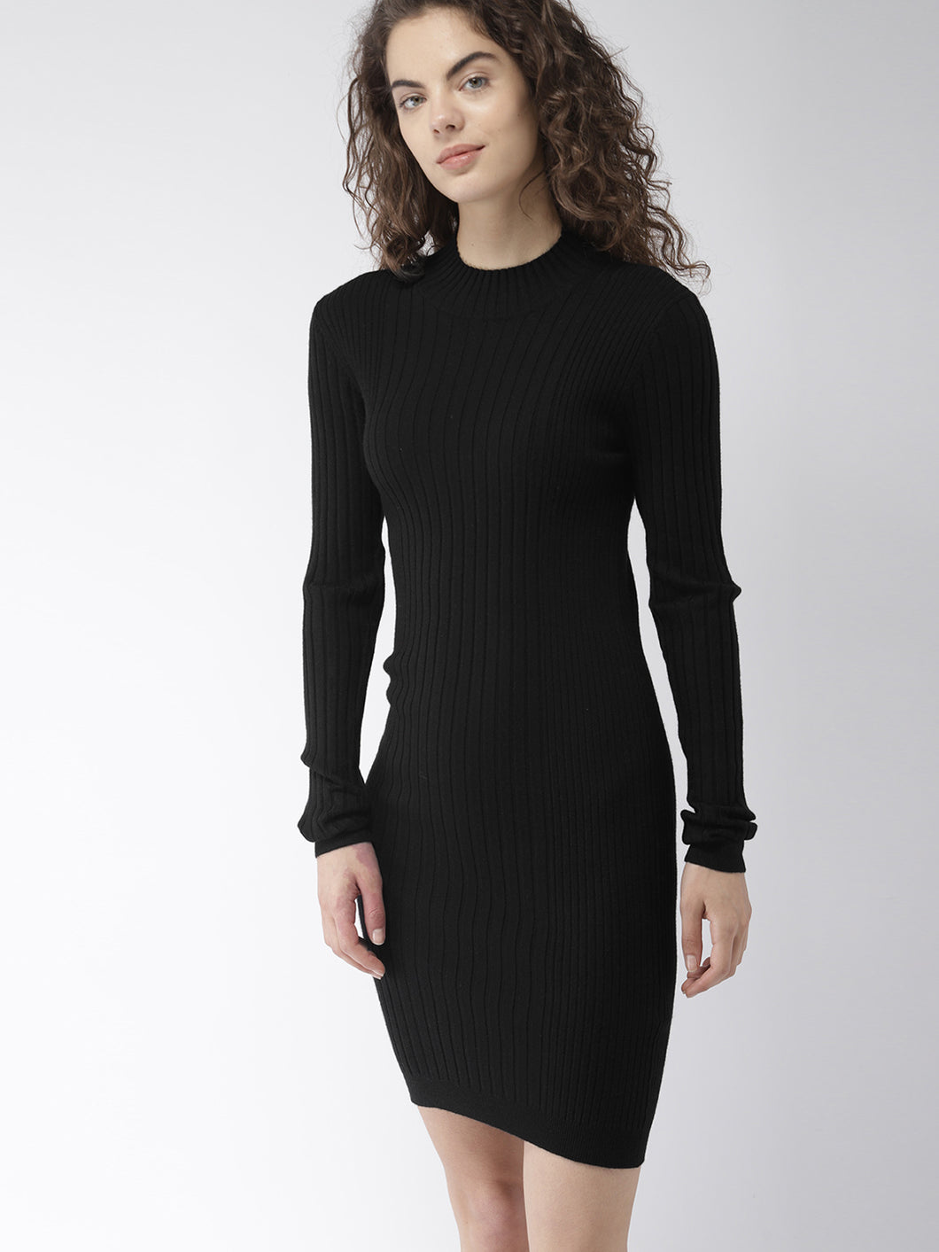 Women Black Self-Striped Sweater Dress