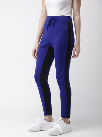 Women Blue & Black Regular Fit Colourblocked Cropped Trousers