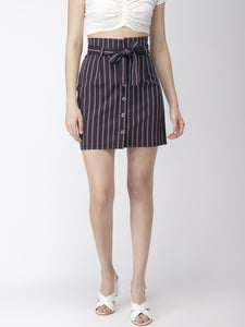 Women Navy Blue Stripped A-Line Skirt