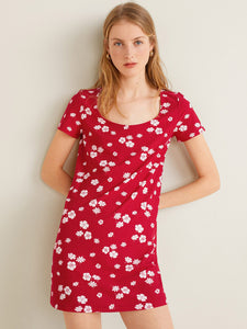 Women Floral Red Dress