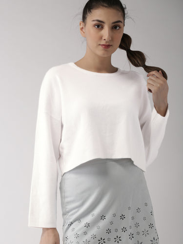 Women White Self Design Pullover - Round Neck
