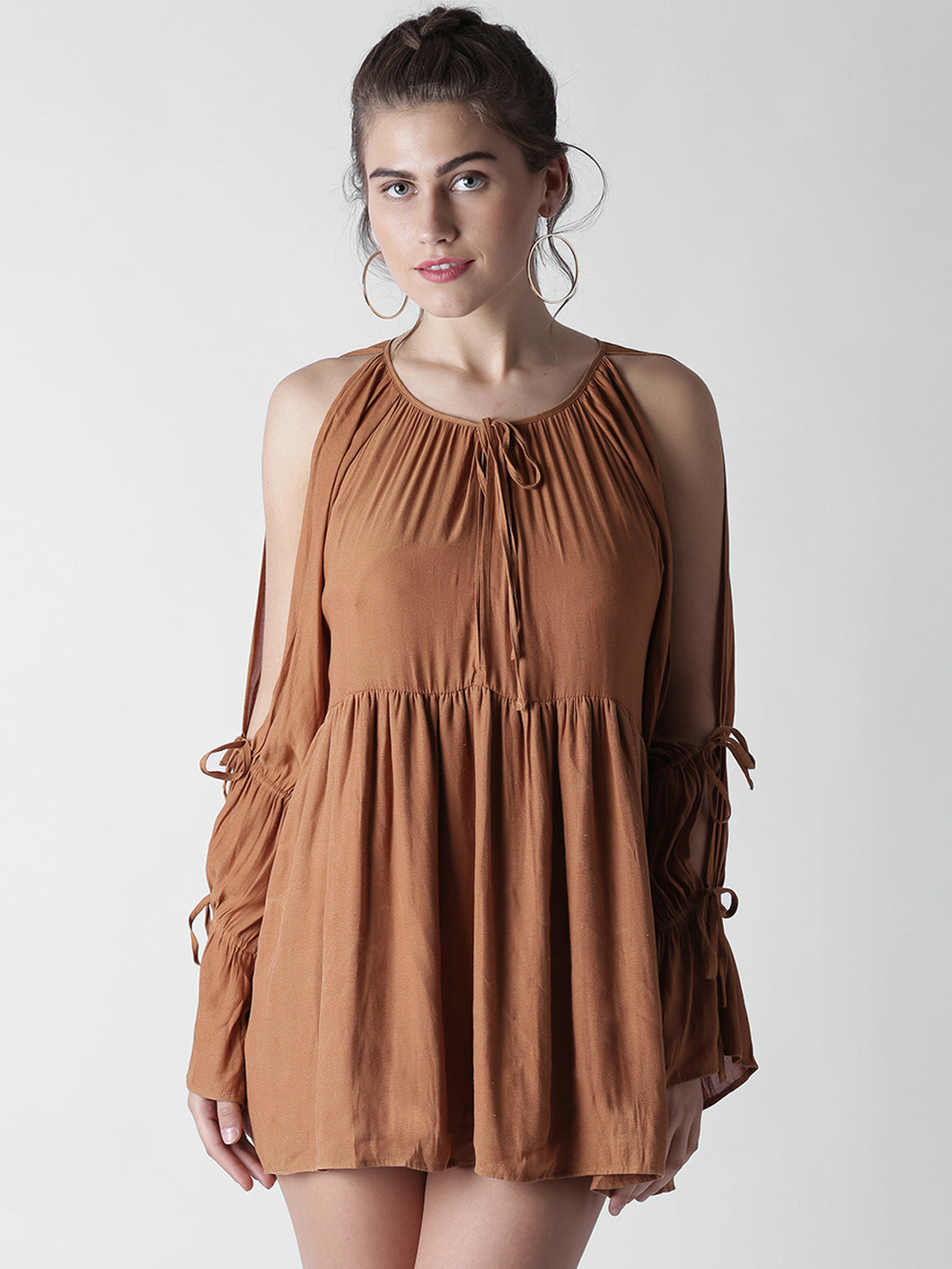 Brown Solid Mini A-Line Dress