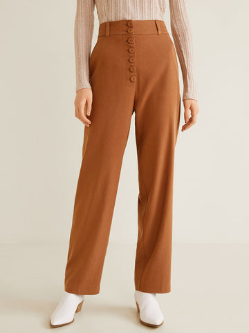 Brown Regular Fit Solid Parallel Trousers