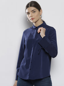Women Navy Blue Regular Fit Solid Casual Shirt