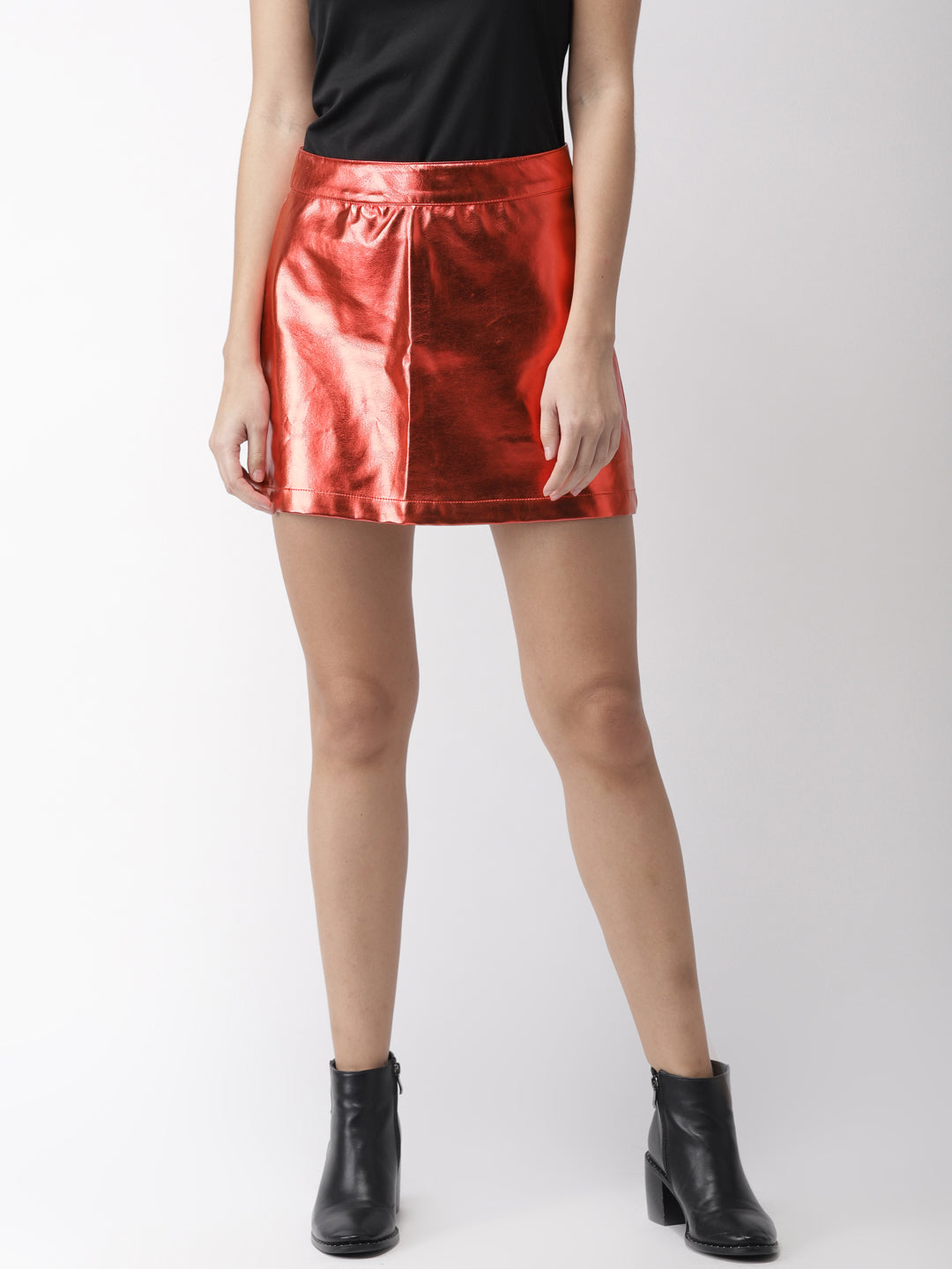 Women Red Solid A-Line Skirt