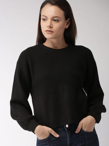 Women Black Striped Pullover Sweater