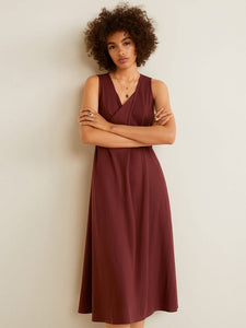 Brown Solid A-Line Dress