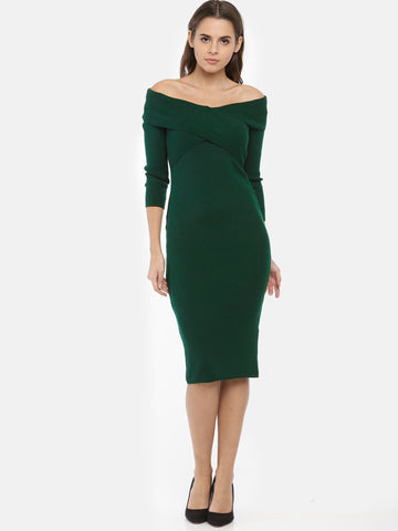 Women Olive Green Solid Bodycon Dress