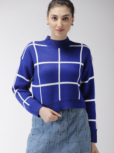 Women Blue & White Checked Pullover Sweater
