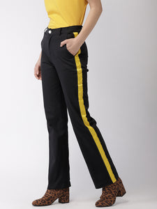 Women Black & Yellow Regular Fit Solid Formal Trousers