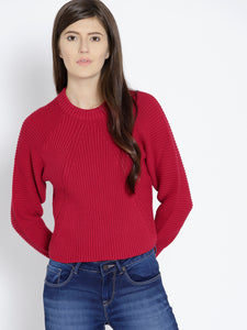 Women Red Solid High Neck Pullover