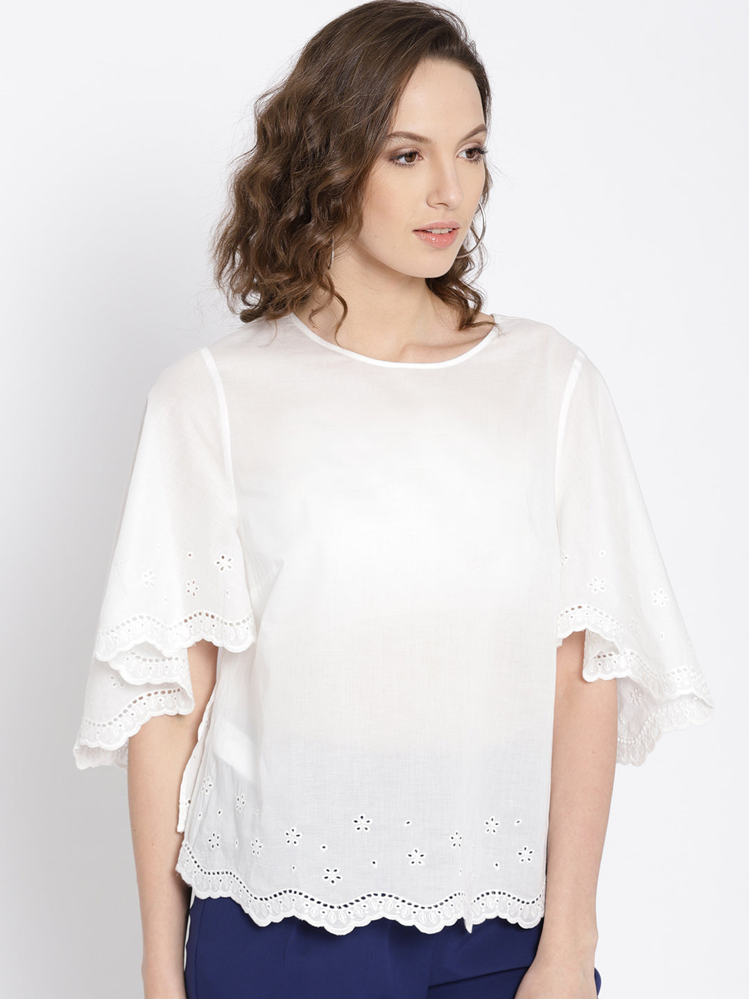 Women White Solid Semi-Sheer Top
