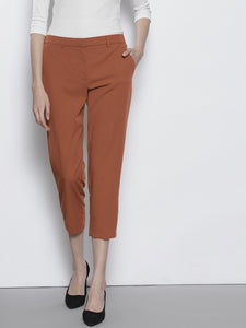 Brown Tailored Regular Fit Solid Cropped Trousers