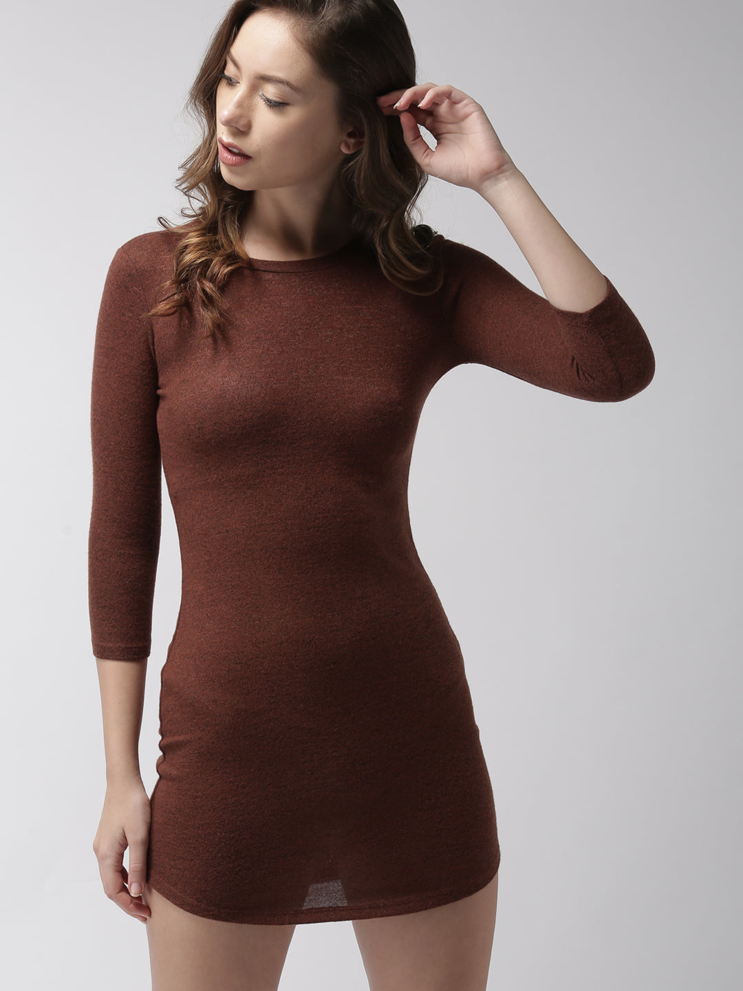 Brown Solid Bodycon Dress