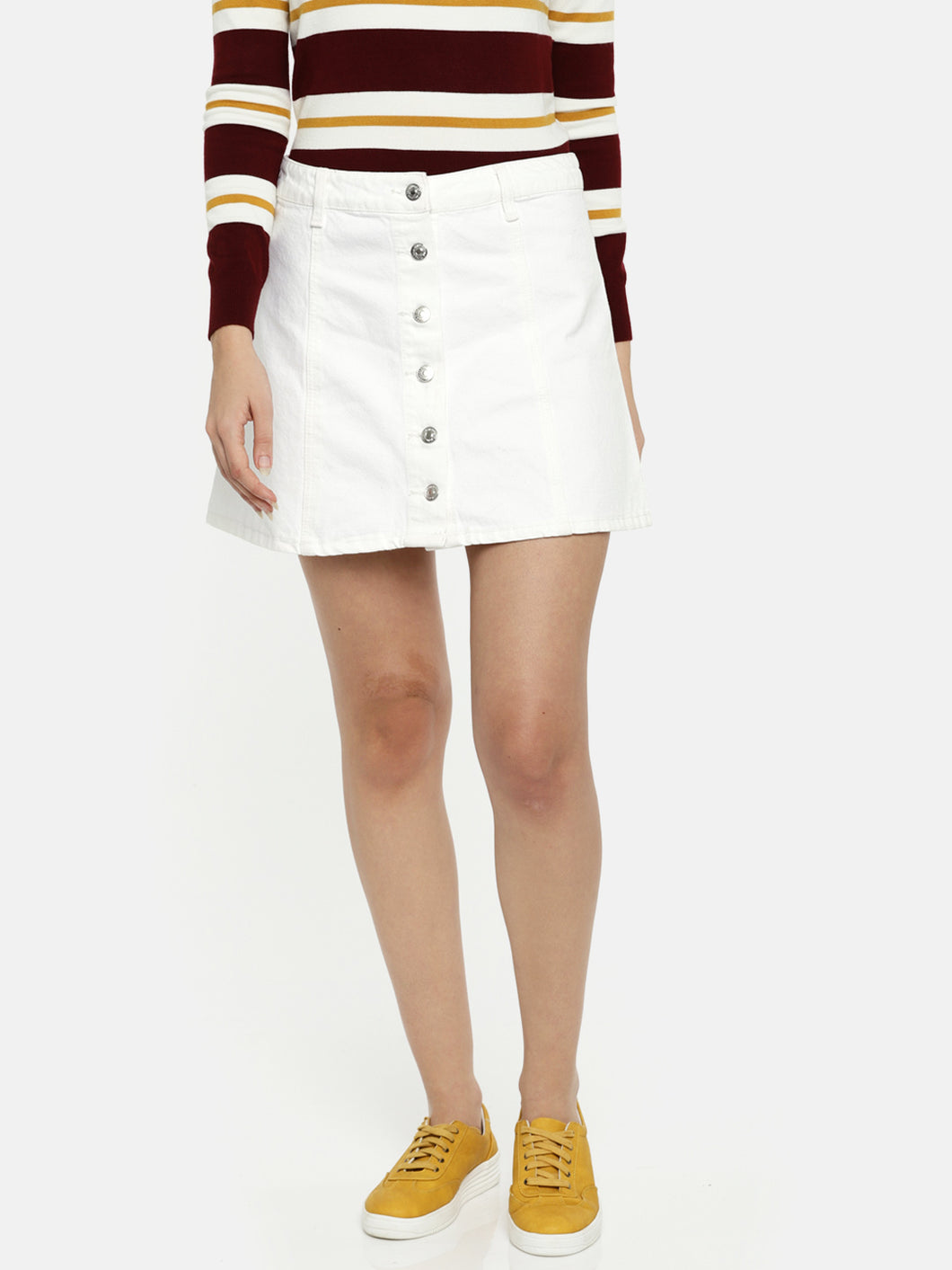 Women White Denim Mini Skirt