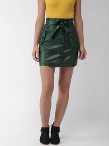 Women Dark Green Mini Straight Skirt