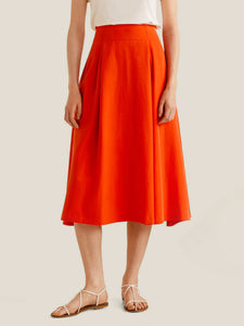 Orange Solid Midi A-line