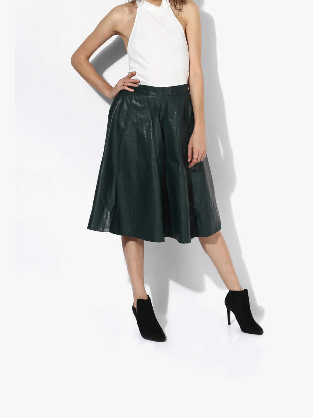 Green Solid Flared Skirt