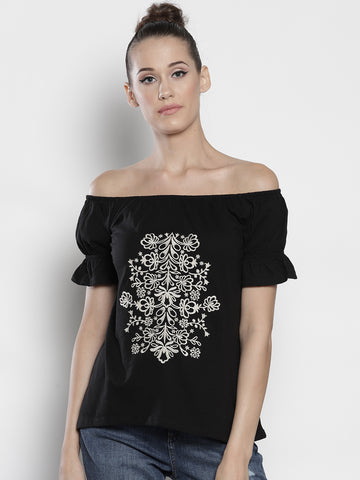 Women Black Embroidered Bardot Top
