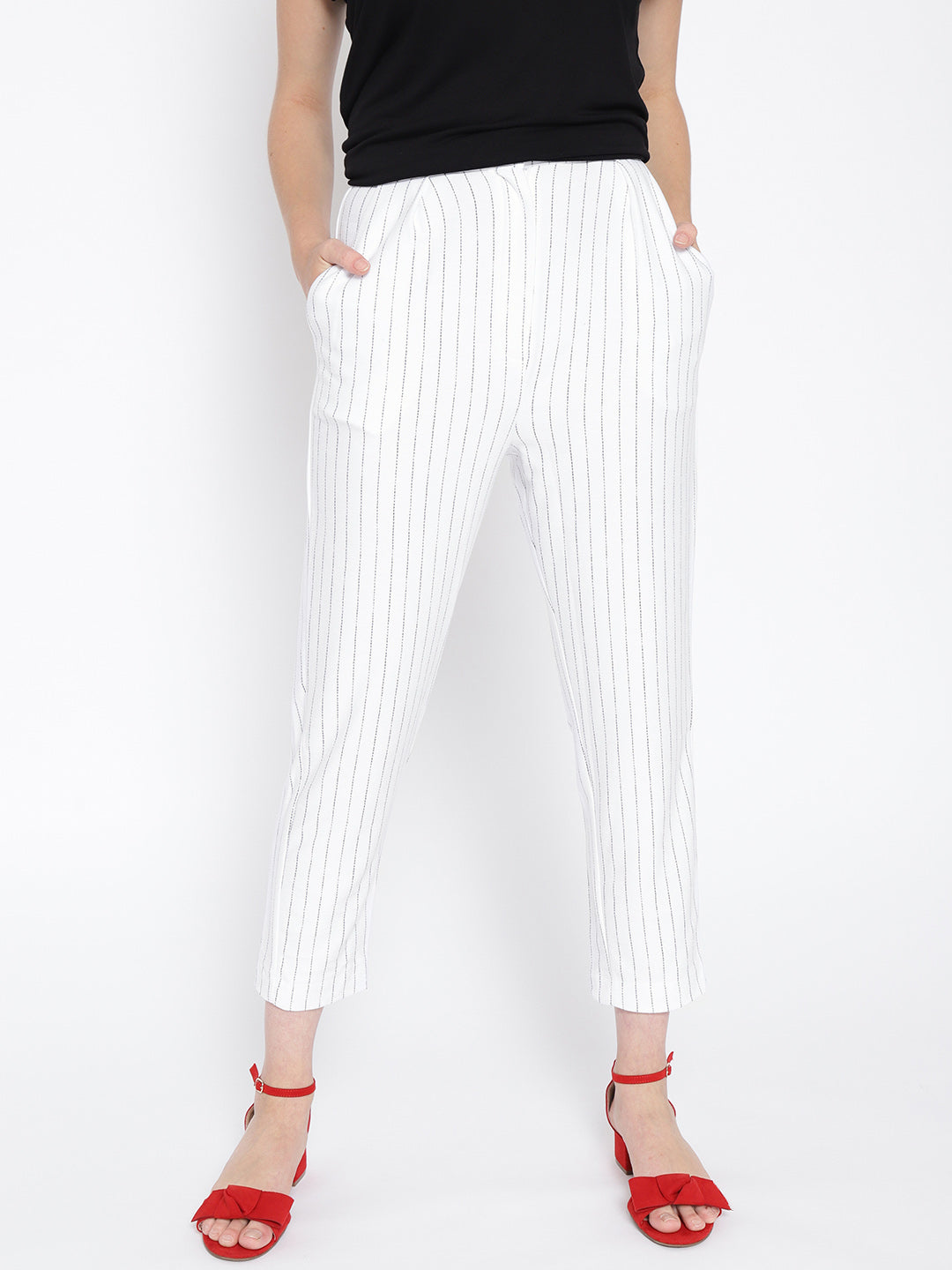 Women White & Black Regular Fit Striped Trousers