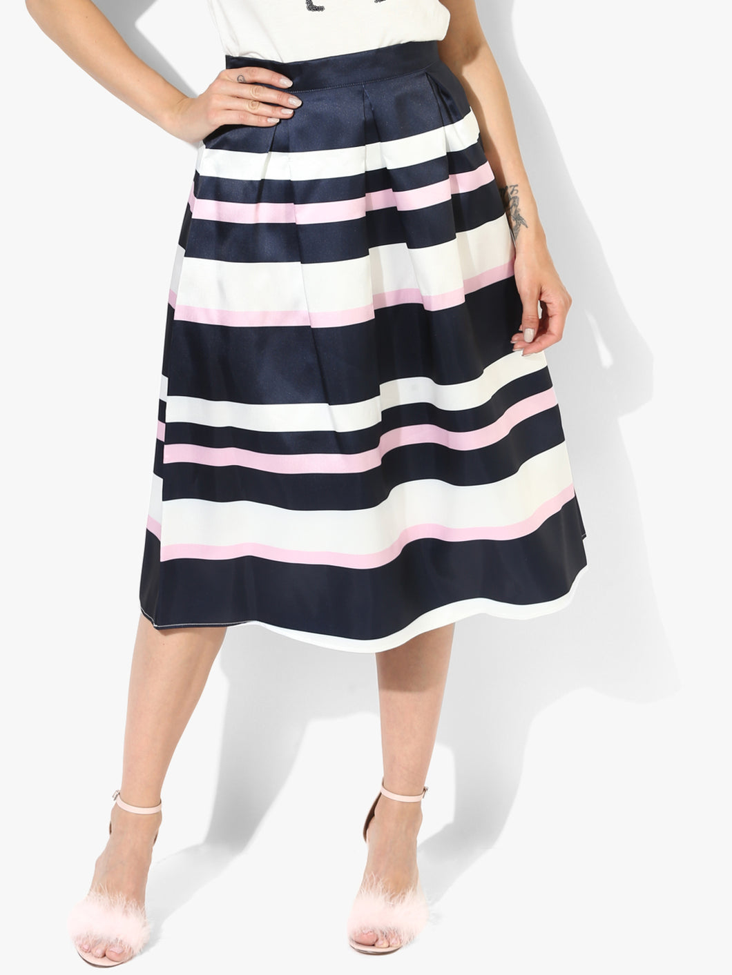 Navy Blue Striped Pencil Knee Length Skirt