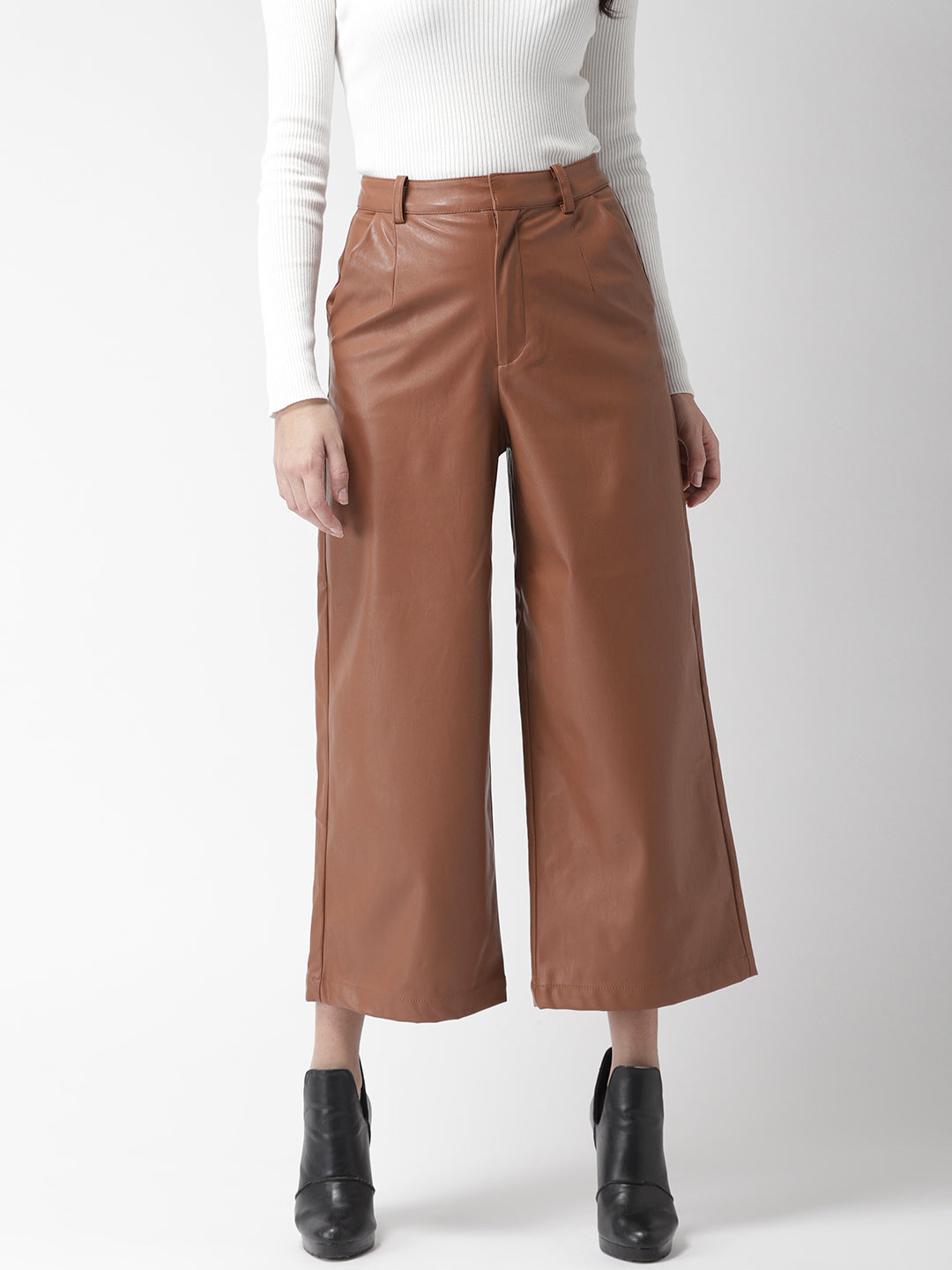 Brown Flared Solid Cropped Culottes