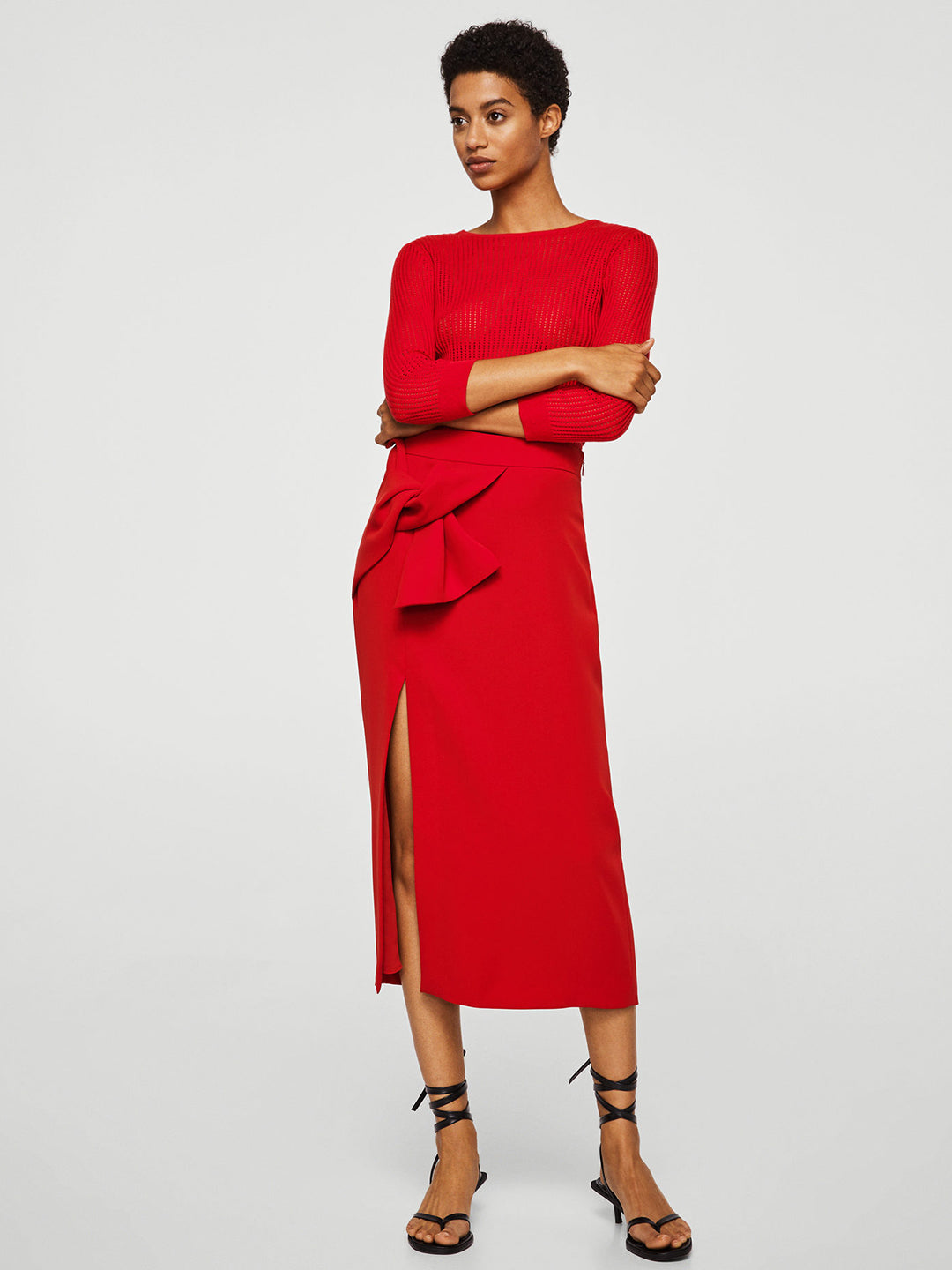 Red Solid Straight Skirt