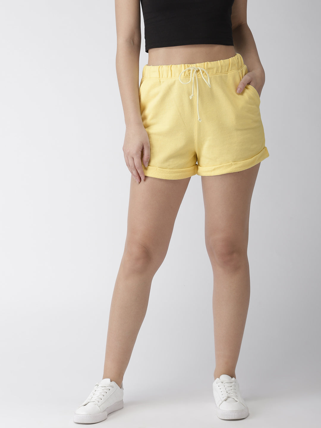 Women Yellow Solid Shorts