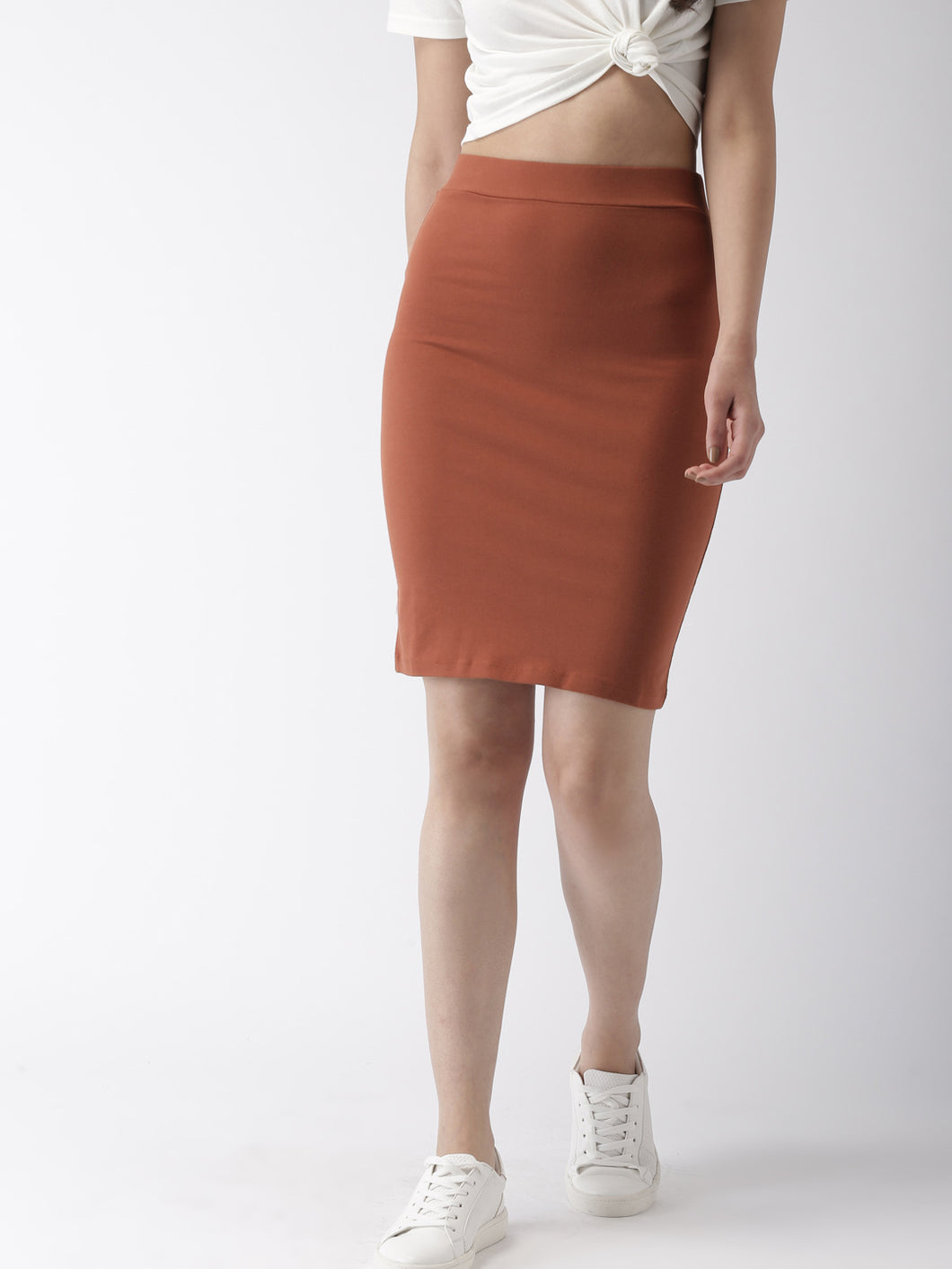 Women Brown Solid Knee-Length Pencil Skirt