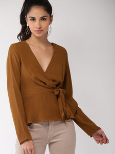 Brown Solid Wrap Top