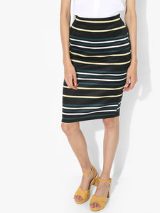 Black Striped Pencil Skirt