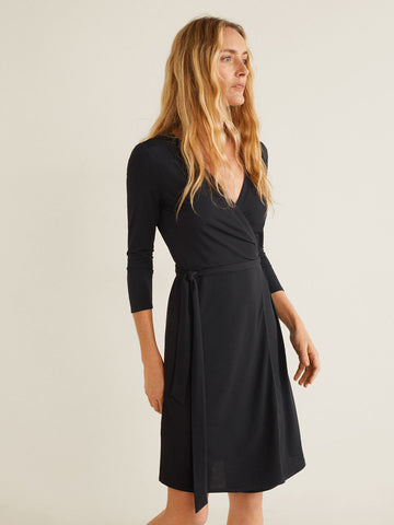Women Black Solid Wrap Dress