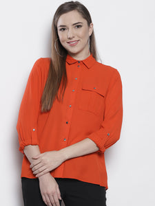 Orange Regular Fit Solid Casual Shirt