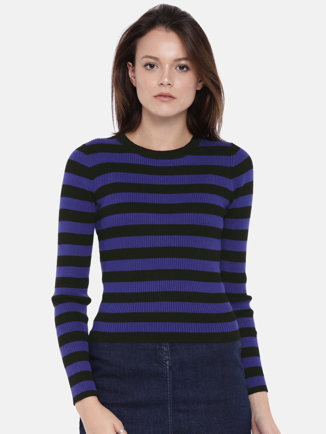 Women Blue & Black Striped Pullover