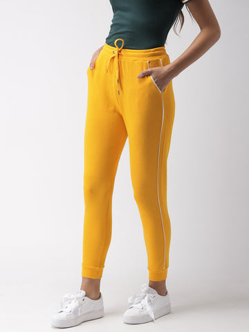Women Yellow Regular Fit Solid Joggers