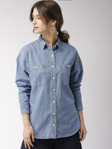 Women Blue Regular Fit Solid Denim Shirt