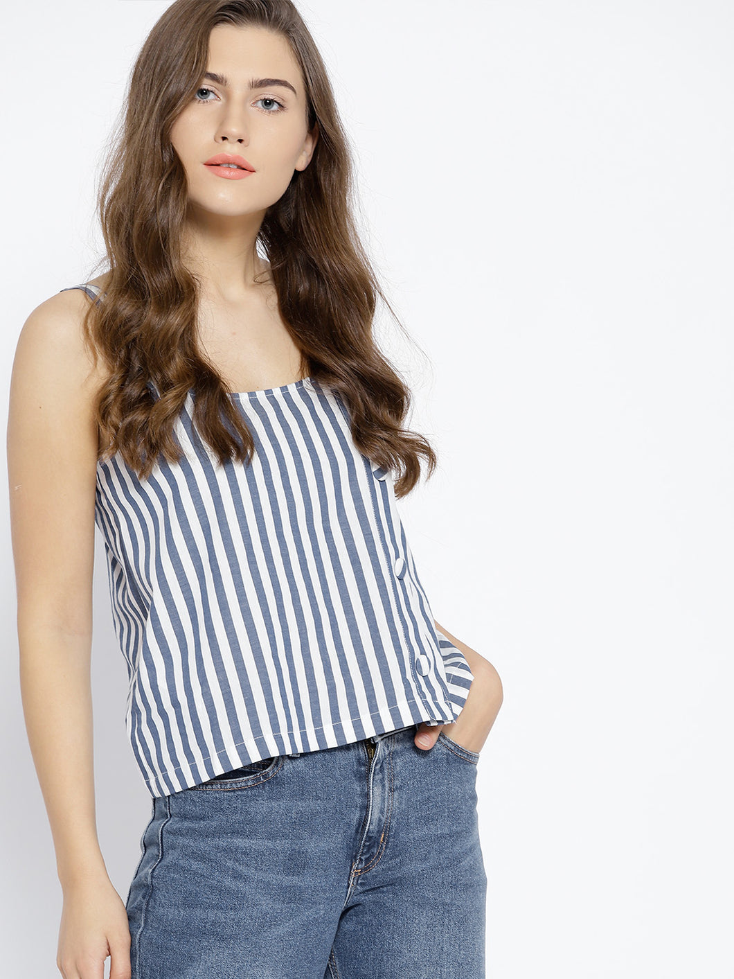 Women Blue & White Striped Boxy Top