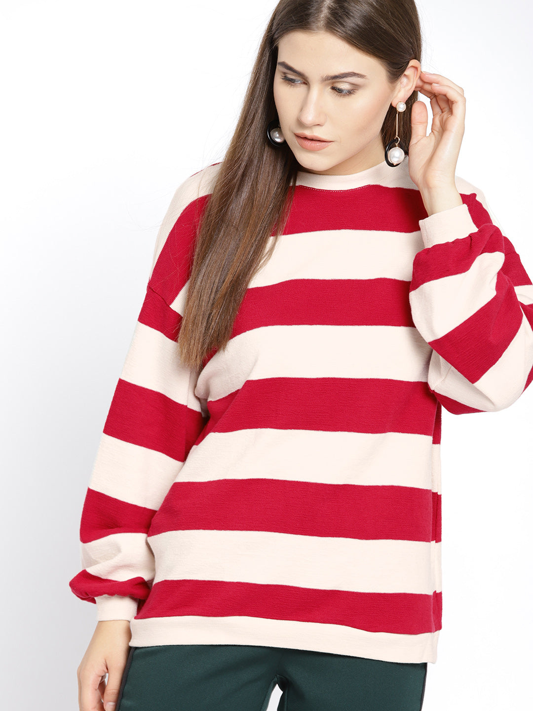 Women Red & Off-White Striped Pullover