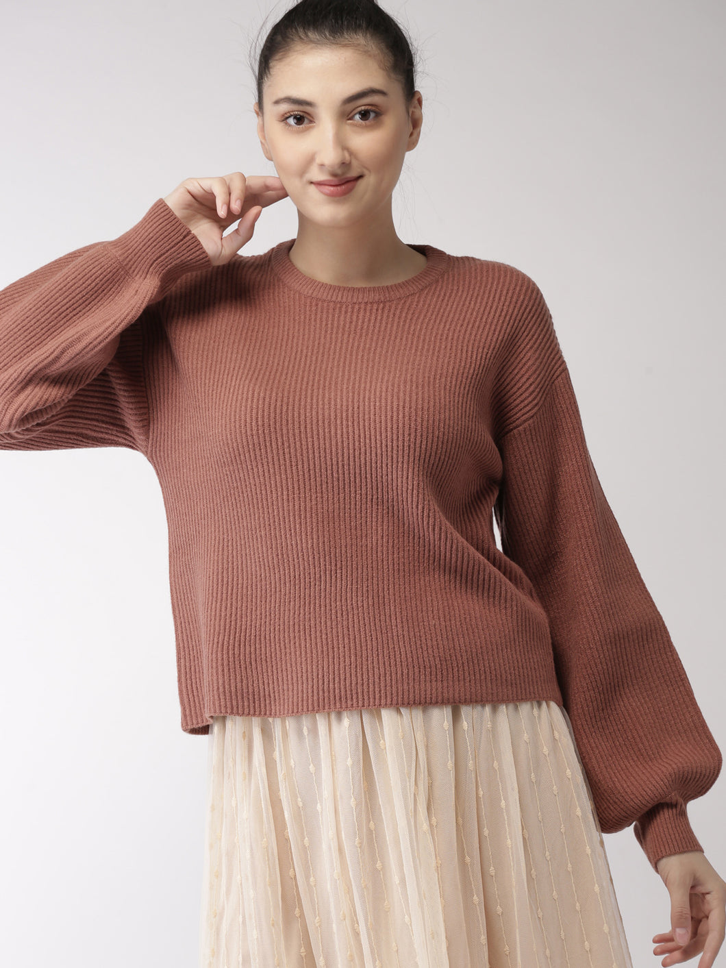 Brown Solid Pullover Sweater