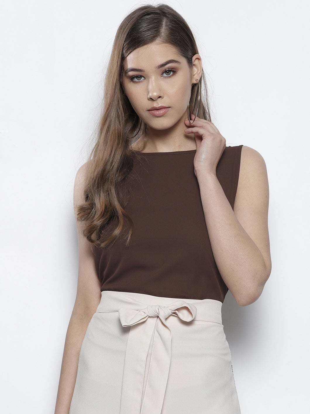 Brown Solid Styled Back Top