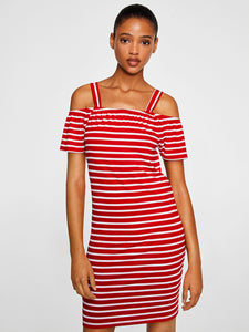 Women Red & White Striped Sheath Bardot Dress